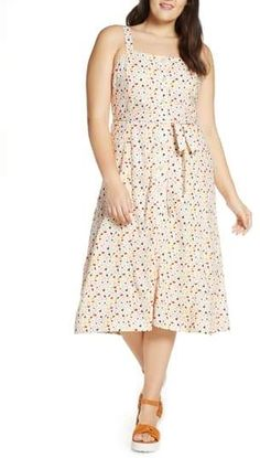 Plus Size Printed Summer Dress | Madewell Terrazzo Square Neck Midi Dress