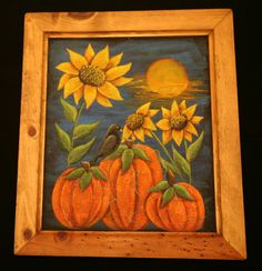 Pumpkins, sunflowers and crow painted on screened frame.
