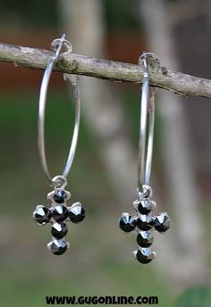 Pink Panache Small Crosses with Black Crystals on Silver Hoops
