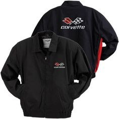 C3 Corvette Black/Red Lightweight Twill Jacket