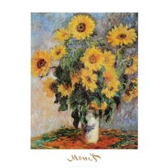 Art.com Sunflowers, c.1881 Wall Art Print by Claude Monet, Yellow