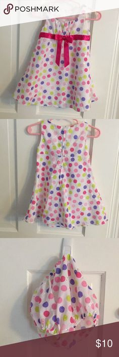 Multi colored spring/summer lightweight dress 18mt Baby girl lightweight dress with pink, lime green and purple dots and a hot pink satin bow in front. Size 18mth Ashley Ann Dresses