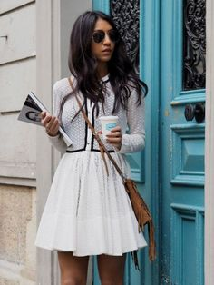 Parisian Street Style - Lovely white maje dress with a cardigan look. High Fashion, Fashion Beauty, Womens Fashion, Fashion Trends, Fashion Tag, Fashion Outfits, Ethno Style, Preppy Look, Classy Outfits