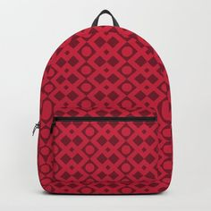Geometric Diamonds and Circles - Red Hues Backpack by denidesigns Backpacks For Sale, D Craft, One Size Fits All, Fashion Backpack, Laptop, Handle, Construction, Unisex, Artists