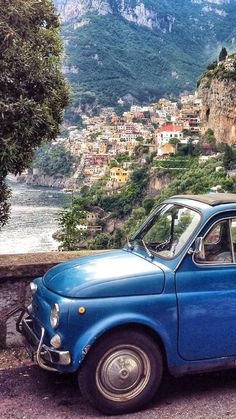 Positano on the Amalfi Coast. very suitable car to travel along the Amalfi coast Places Around The World, Oh The Places You'll Go, Places To Travel, Travel Destinations, Places To Visit, Around The Worlds, Siena Toscana, Positano Italy, Sorrento Italy
