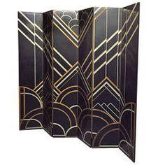 Art Deco Six-Panel Folding Screen in the Style of Donald Deskey - Art Deko Art Nouveau Furniture, Furniture Design, Art Deco Bedroom, Room Screen, New York Art, Paul Poiret, Art Deco Design, Panel, Art Deco Fashion