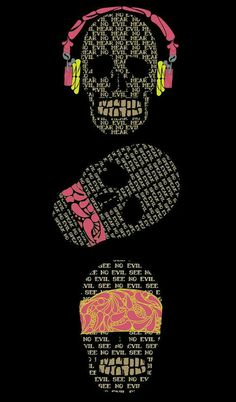 hear no evil;see no evil; speak no evil Memento Mori, See No Evil, Wise Monkeys, Retro Poster, Dope Art, Skull Tattoos, Skull And Bones, Skull Art, Wallpaper Backgrounds