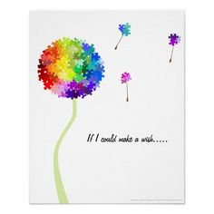 autism awareness   Autism Awareness Dandelion Wishes Poster from Zazzle.com