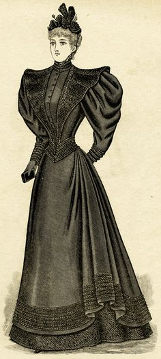 Ladies' Mourning Toilette designed with four patterns, including this one: Ladies' Basque, Over-Skirt, Sprung Collar and Half-Circle Skirt. Illustration is from the April 1894 issue of The Delineator magazine.