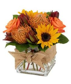 Buy Flowers Online Same Day Delivery Natures Bounty Celebrate The Spirit Of Fall With A Vibrant Bundle Of Sunflowers, Roses, Protea, And Leucadendron. This Arrangement Is Finished Off With A Sweet Burlap Bow. Sunflowers And Roses, Flowers For You, Fall Flowers, Bouquet Flowers, Flowers Nature, Flowers Garden, Fall Flower Arrangements, Flower Centerpieces, Flower Decorations