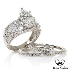 White Gold Plated Victoria 6.68ct Absolute Marquise 3 Pcs Engagement Ring Set