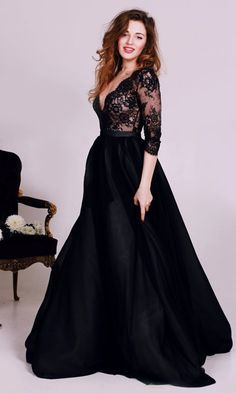 Black Lace Deep V-Neck Prom Dresses 2016 3/4 Sleeves Tulle Elegant Evening Gowns