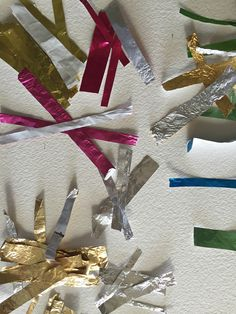 Making art selecting and cutting foil colours from recycled confectionery chocolate wrappers. Modern Art, Contemporary Art, Toblerone, Organic Chocolate, Collage Artists, Triptych, Make Art, Confectionery, Paper Design