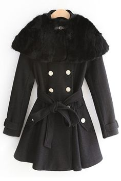 Faux Fur Layer Double-breasted Wool-blend Coat OASAP.com