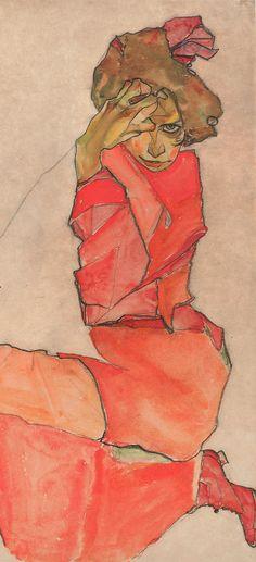 By Egon Schiele (1890-1918), 1910, Female in Orange-Red dress Kneeling, Black chalk and gouache.