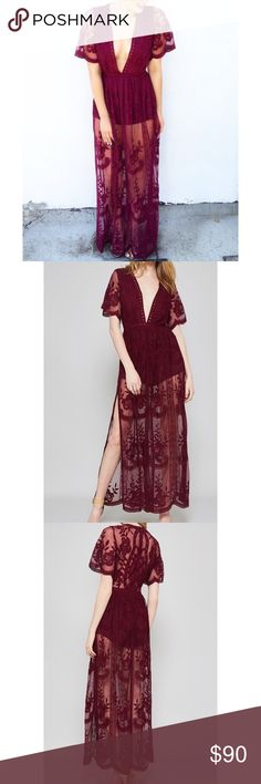 Lacy burgundy maxi dress NWOT Deep v neck dress with shorts underneath and lace and embroidery outside!! Very very flattering and well made ! This dress was bought in a local boutique Dresses Maxi