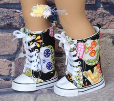 """Fancy Multi Color Skulls on Black Lace-Up Knee High Top Sneakers Boots Doll Shoes for 18"""" American Girl dolls on Etsy, $9.99"""
