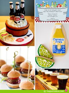 Beer Tasting Party Ideas - Beer Invitation, Beer glass in a row for tasting, Beer Cake with bottles made out of sugar, miniature sliders, Corona beer cookies with lemon wedge cookies