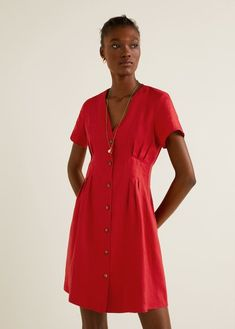 Vestido lino detalle pinzas - Vestidos de Mujer | Mango España