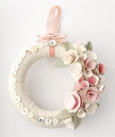 heart shaped wreath wrapped and then embellished with die-cut and hand stamped leaves