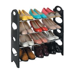 Use the free standing shoe rack to organise your shoes. Shoe rack for ladies shoes, sneakers, heals, sandles, pumps. Stack the shoe rack for more space.