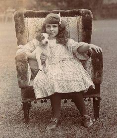 Edwardian girl with her Jack Russell terrier. puppy looks happy, too Pet Puppy, Pet Dogs, Dog Cat, Doggies, Vintage Children, White Terrier, Jack Russells, Terrier Dogs, Robert De Niro