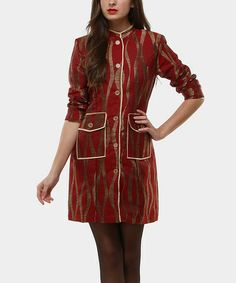 Take a look at this Red & Gold Fire Trench Coat by Almatrichi on #zulily today! $35 !!