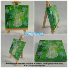 Miniature #painting complete with cute easel etsy.com/shop/ThePresents★facebook.com/ThePresent.Arts.Crafts★facebook.com/MayaHaywardArtGallery