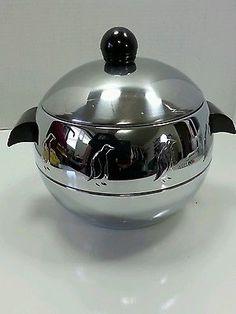 Vintage Mid-Century West Bend Chrome Penguin Ice Bucket, Hot & Cold  Food Server