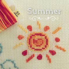 Cross stitch sun dmc51 kanaviçe etamin güneş