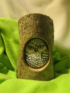 Owl in its nest   fit painted rock owls to knot hole