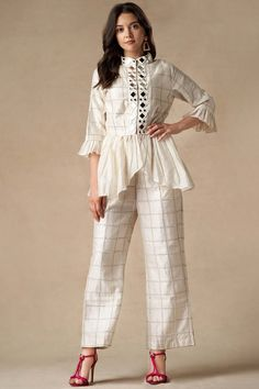 Buy Chanderi Peplum Jacket by Twenty Nine at Aza Fashions Indian Fashion Dresses, Indian Bridal Outfits, Dress Indian Style, Girls Fashion Clothes, Indian Designer Outfits, Fashion Outfits, Clothes For Women, Indian Skirt, Pakistani Dresses