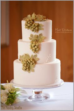 A Charming Vineyard Inspired Wedding Cake at The Tavern & Chapel in the Garden by: The Pastry Studio  Photo:  www.markdickinsonphotography.com