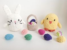 """This pattern includes instructions to make the super cute bunny and chick, plus a basket to hold all the Easter eggs that the bunny hides! The perfect handmade gift for Easter morning! The pattern is very comprehensive with 37 pages, including a detailed supplies list, a text pattern, plus a step by step photo tutorial with a total of 91 photos. Each animal is 4.5-5.5"""" (11.5-14 cm) tall and 4.5"""" (11.5 cm) across. The basket is 2.5"""" (6 cm) across and 4"""" (10 cm) tall. Each egg measures 1.5""""…"""