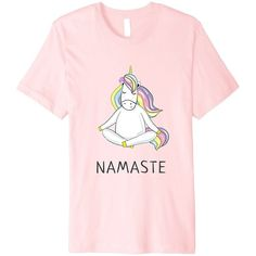 Unicorn Ma Cute Namaste Yoga T-Shirt Bright Spiritual Wear (€14) ❤ liked on Polyvore featuring tops, t-shirts, shirts, bright coloured t shirts, yoga tops, unicorn tee, yoga tees and bright pink top