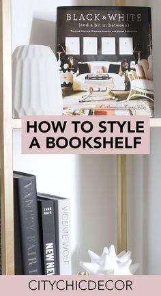How to Style an Étagère or Bookshelf - City Chic Decor Bookshelf Styling, Bookshelves, Retro Home Decor, Cheap Home Decor, Renters Solutions, Apartment Goals, Apartment Ideas, Multipurpose Room, Studio Apartment Decorating