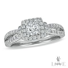 Vera Wang LOVE Collection 1 CT. T.W. Diamond Frame Split Shank Engagement Ring in 14K White Gold - Zales