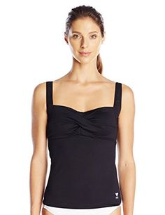 TYR Women's Twisted Bra Solid Tankini Top (Black, 14) TYR