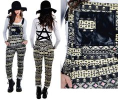 NEW Too Fast Star Overalls Aztec Skull Pants Pentagram Straps Punk Tattoo Flash #TooFastClothing #Overalls