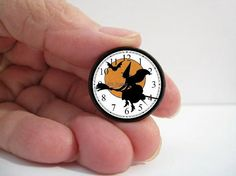 Dollhouse+Miniature+Clock+Halloween+Witch+on+a+by+DollhouseDecor,+$6.49