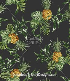 Tropical Pineapple Palm Leaf Repeat. Download this design & print on your T-Shirts or products today