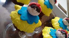 mini cupcake decorado - tema branca de neve