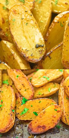 Made with oregano veggie broth garlic and lemon juice these Roasted Fingerling Potatoes are bursting with flavor They make a great side dish or a filling dinner Vegan fri. Roasted Fingerling Potatoes, Healthy Chicken Dinner, Potato Dishes, Vegan Dinners, Food Dinners, Salmon Recipes, Chicken Recipes, Healthy Dinner Recipes, Vegetarian Appetizers