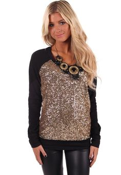 Lime Lush Boutique - Black Sweater with Gold Sequin Front, $39.99 (http://www.limelush.com/black-sweater-with-gold-sequin-front/)