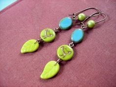 LONG Earrings Picasso Beaded Earrings Bird Walk by justEARRINGS, $14.00 https://www.etsy.com/listing/56321770/long-earrings-picasso-beaded-earrings