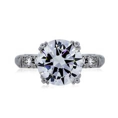 Platinum GIA 2.74ct Round Brilliant Diamond Solitaire Engagement Ring