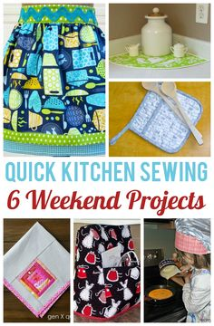 Sewing for the kitchen is fun and rewarding, because the projects finish up quickly, and you'll get to look at them every day! From aprons and pot holders to pretty cloth napkins, here are some of your best bets for a quick weekend sewing project.