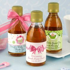 Maple Syrup Baby Shower Favors, $3.83, 28 designs to choose from, (http://www.babyshowerdepot.com/maple-syrup-baby-shower-favors/)