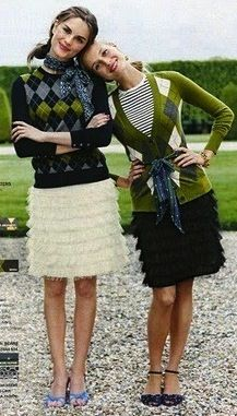 Pretty preppy girls dressed up in green and navy