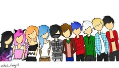 These are my head cannon hights for all the characters. From shortest to tallest. I didn't do their faces because it would take to long and I wanted to make something simple. I have been working on this for a week but It was worth it. Aphmau My Street, Aphmau Youtube, Aarmau Fanart, Aphmau Characters, Aphmau Memes, Aphmau And Aaron, Zane Chan, Kawaii Chan, Anime